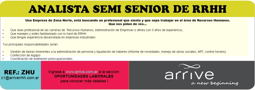 ANALISTA SEMI SENIOR DE RRHH